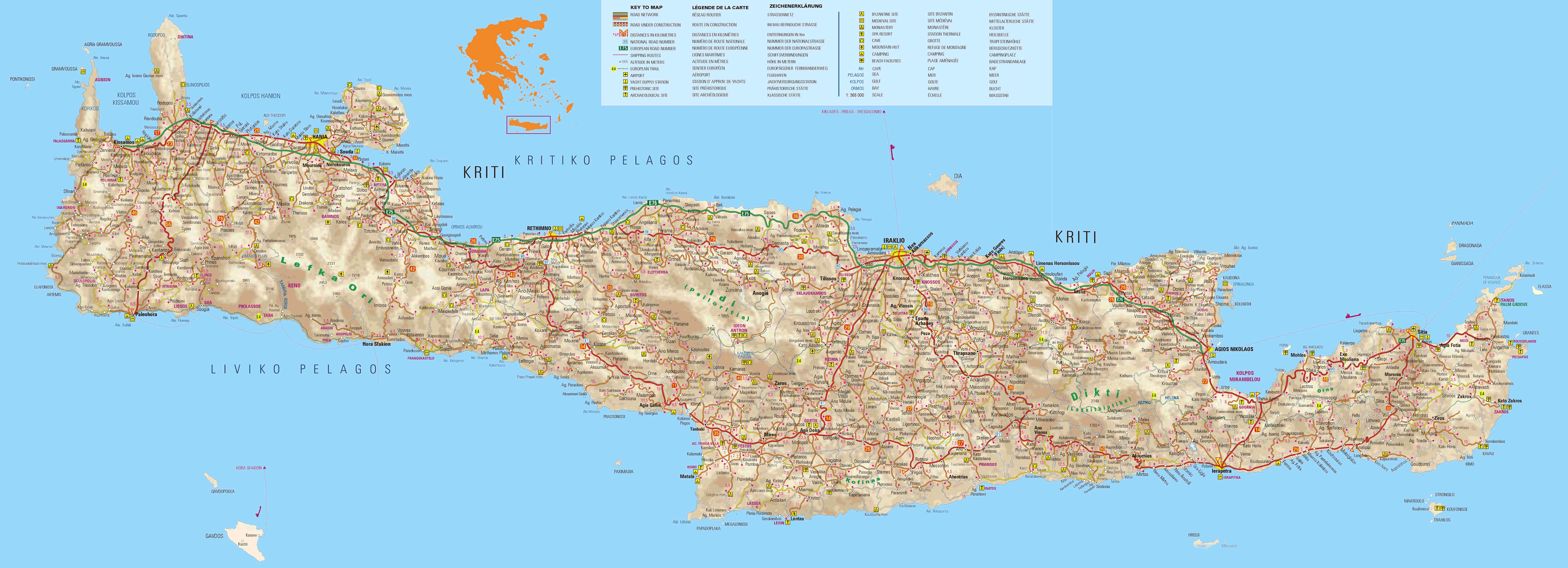 detailed map of the island of Crete