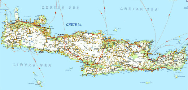 Map of the island of Crete